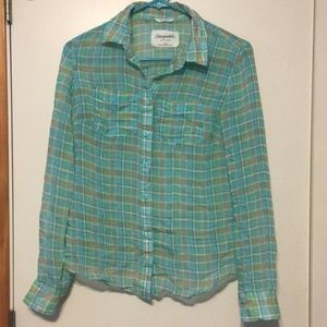 Blue/green/white/brown plaid shirt